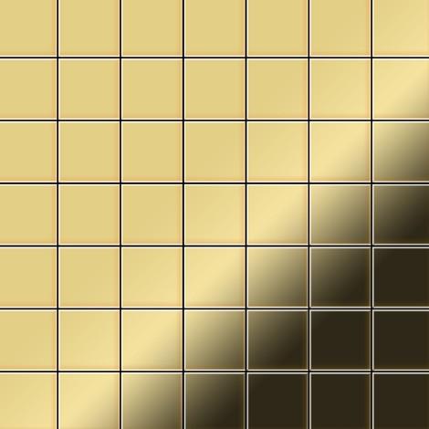 Mosaic tile massiv metal Brass mill gold 1.6mm thick ALLOY Attica-BM