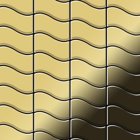 Mosaic tile massiv metal Brass mill gold 1.6mm thick ALLOY Flux-BM designed by Karim Rashid