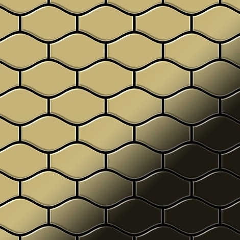 Mosaic tile massiv metal Brass mill gold 1.6mm thick ALLOY Karma-BM designed by Karim Rashid