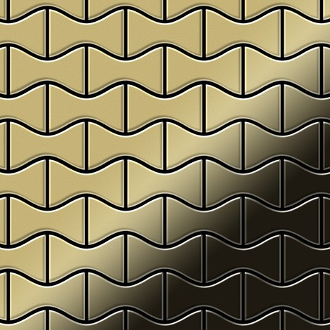 Mosaic tile massiv metal Brass mill gold 1.6mm thick ALLOY Kismet-BM designed by Karim Rashid