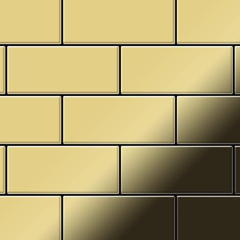 Mosaic tile massiv metal Brass mill gold 1.6mm thick ALLOY Subway-BM