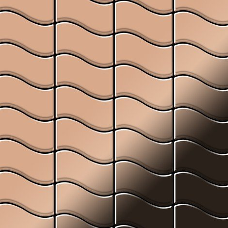 Mosaic tile massiv metal Copper mill copper 1.6mm thick ALLOY Flux-CM designed by Karim Rashid