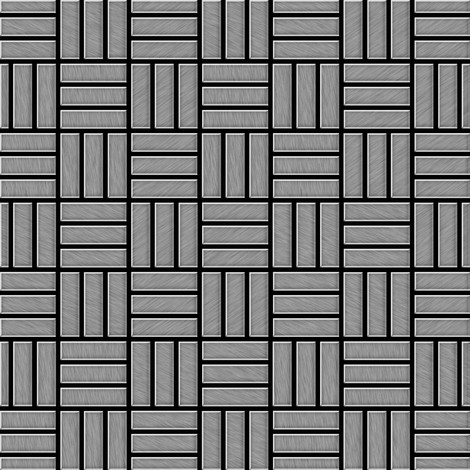 Mosaic tile massiv metal Stainless Steel brushed grey 1.6mm thick ALLOY Basketweave-S-S-B