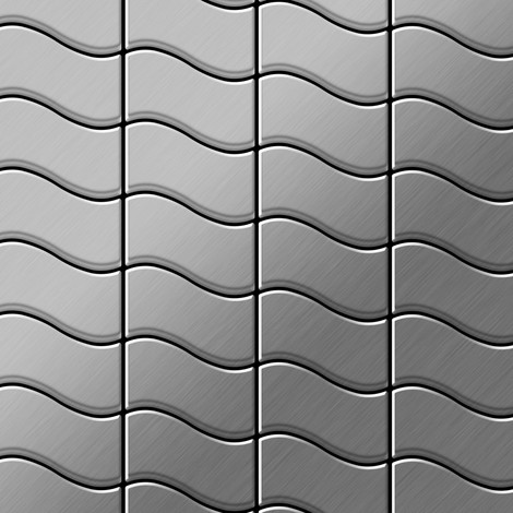 Mosaic tile massiv metal Stainless Steel brushed grey 1.6mm thick ALLOY Flux-S-S-B designed by Karim Rashid
