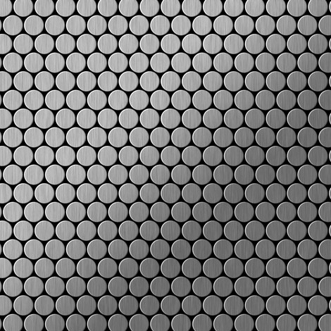 Mosaic tile massiv metal Stainless Steel brushed grey 1.6mm thick ALLOY Penny-S-S-B