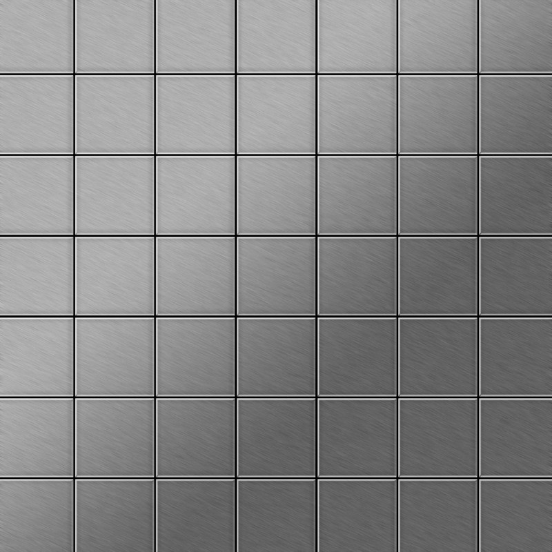 Image of Alloy - Mosaic tile massiv metal Stainless Steel marine brushed grey 1.6mm thick Attica-S-S-MB