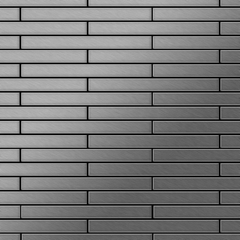 Image of Alloy - Mosaic tile massiv metal Stainless Steel marine brushed grey 1.6mm thick Avenue-S-S-MB