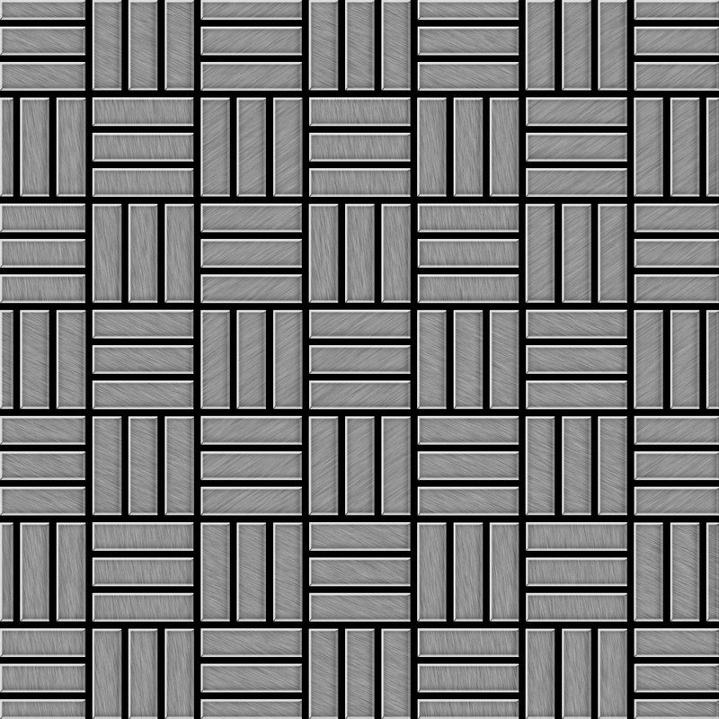 Image of Alloy - Mosaic tile massiv metal Stainless Steel marine brushed grey 1.6mm thick Basketweave-S-S-MB