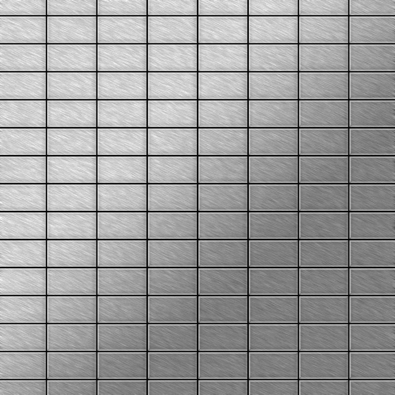 Image of Alloy - Mosaic tile massiv metal Stainless Steel marine brushed grey 1.6mm thick Bauhaus-S-S-MB