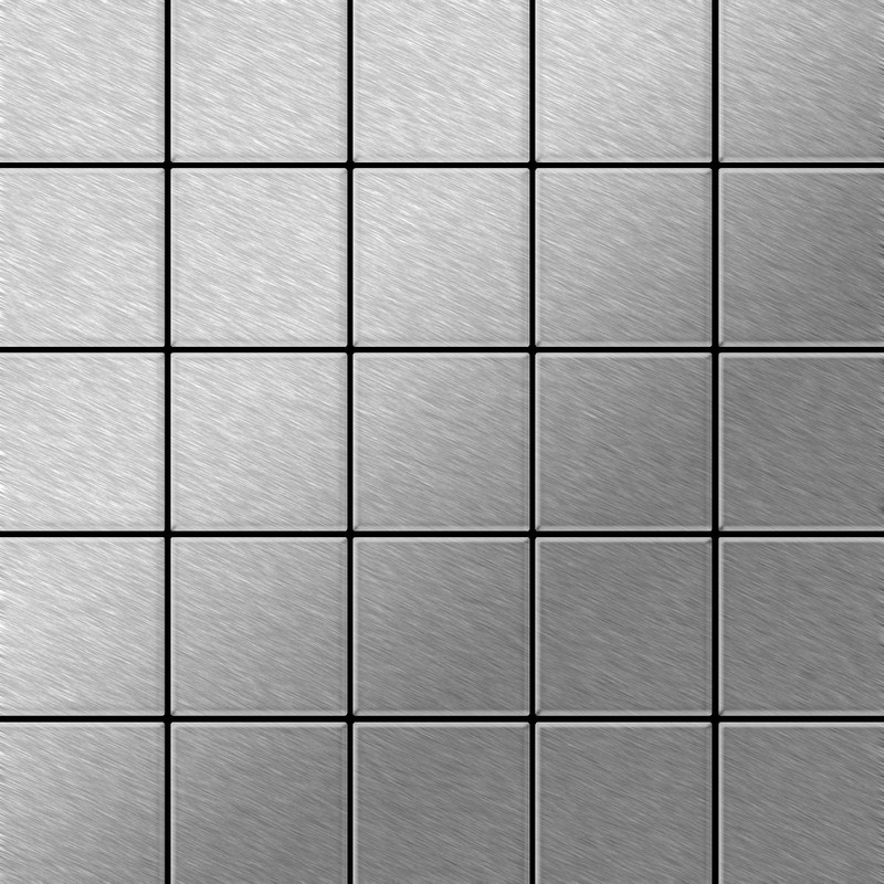 Image of Alloy - Mosaic tile massiv metal Stainless Steel marine brushed grey 1.6mm thick Century-S-S-MB