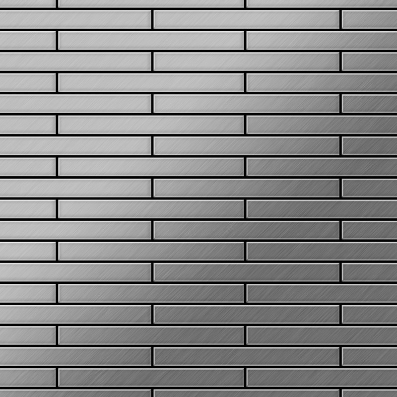 Image of Alloy - Mosaic tile massiv metal Stainless Steel marine brushed grey 1.6mm thick Deedee-S-S-MB