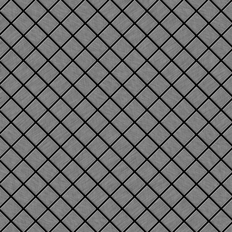 Image of Alloy - Mosaic tile massiv metal Stainless Steel marine brushed grey 1.6mm thick Diamond-S-S-MB