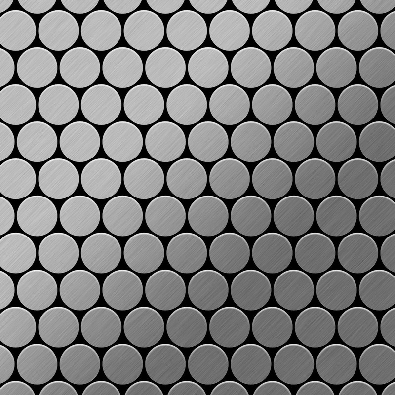 Image of Alloy - Mosaic tile massiv metal Stainless Steel marine brushed grey 1.6mm thick Dollar-S-S-MB
