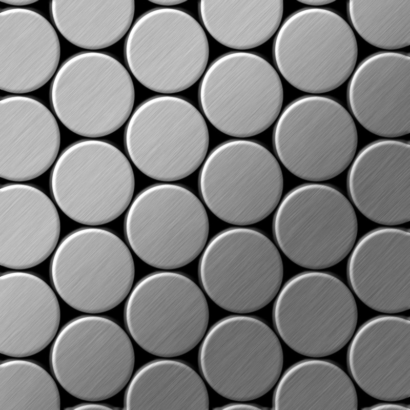 Image of Alloy - Mosaic tile massiv metal Stainless Steel marine brushed grey 1.6mm thick Dome-S-S-MB