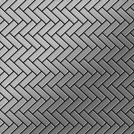 Mosaic tile massiv metal Stainless Steel marine brushed grey 1.6mm thick ALLOY Herringbone-S-S-MB
