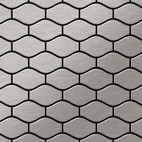 Mosaic tile massiv metal Stainless Steel marine brushed grey 1.6mm thick ALLOY Karma-S-S-MB designed by Karim Rashid