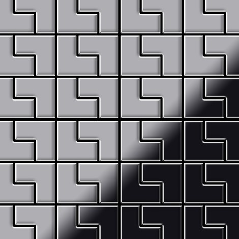 Mosaic tile massiv metal Stainless Steel marine brushed grey 1.6mm thick ALLOY Kink-S-S-MB designed by Karim Rashid