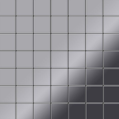 Mosaic tile massiv metal Stainless Steel marine mirror grey 1.6mm thick ALLOY Attica-S-S-MM