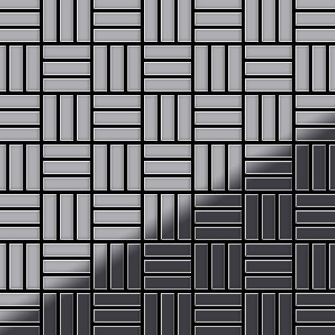 Mosaic tile massiv metal Stainless Steel marine mirror grey 1.6mm thick ALLOY Basketweave-S-S-MM
