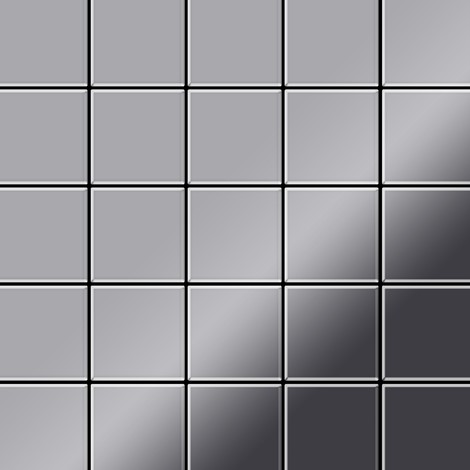 Mosaic tile massiv metal Stainless Steel marine mirror grey 1.6mm thick ALLOY Century-S-S-MM