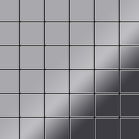 Mosaic tile massiv metal Stainless Steel marine mirror grey 1.6mm thick ALLOY Cinquanta-S-S-MM
