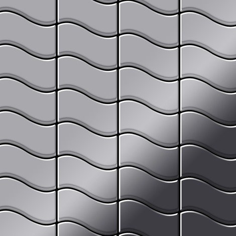 Mosaic tile massiv metal Stainless Steel marine mirror grey 1.6mm thick ALLOY Flux-S-S-MM designed by Karim Rashid