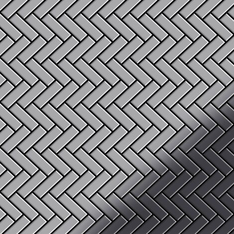 Mosaic tile massiv metal Stainless Steel marine mirror grey 1.6mm thick ALLOY Herringbone-S-S-MM