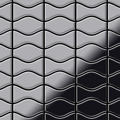 Mosaic tile massiv metal Stainless Steel marine mirror grey 1.6mm thick ALLOY Kismet & Karma-S-S-MM designed by Karim Rashid