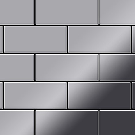 Mosaic tile massiv metal Stainless Steel marine mirror grey 1.6mm thick ALLOY Subway-S-S-MM