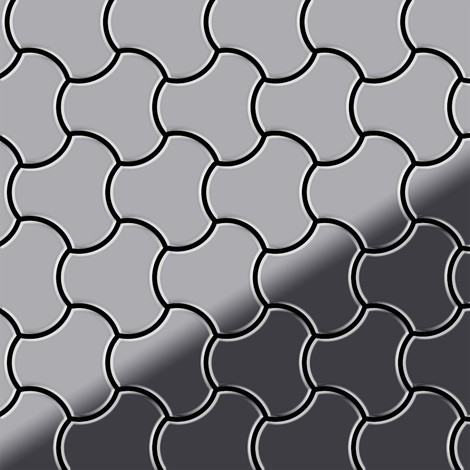 Mosaic tile massiv metal Stainless Steel marine mirror grey 1.6mm thick ALLOY Ubiquity-S-S-MM designed by Karim Rashid