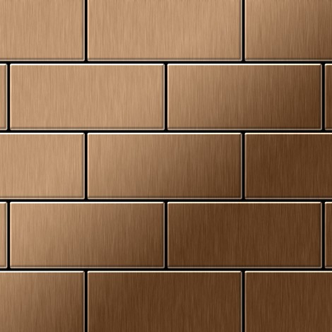 Mosaic tile massiv metal Titanium Amber brushed copper 1.6mm thick ALLOY Subway-Ti-AB