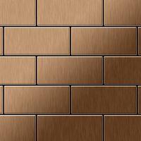 Mosaic tile massiv metal Titanium Amber brushed copper 1.6mm thick ALLOY Subway-Ti-AB