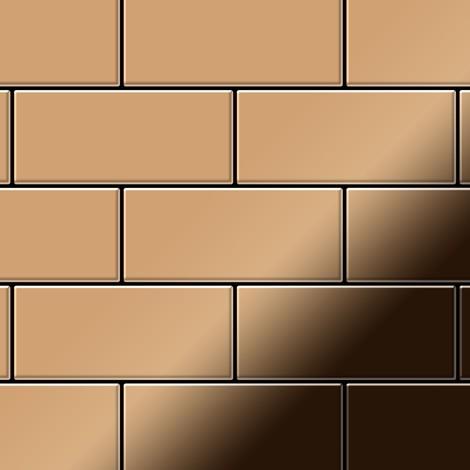 Mosaic tile massiv metal Titanium Amber mirror copper 1.6mm thick ALLOY Subway-Ti-AM