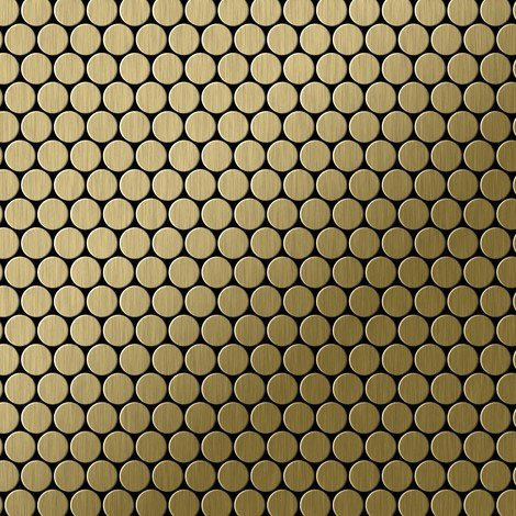 Mosaic tile massiv metal Titanium Gold brushed gold 1.6mm thick ALLOY Penny-Ti-GB