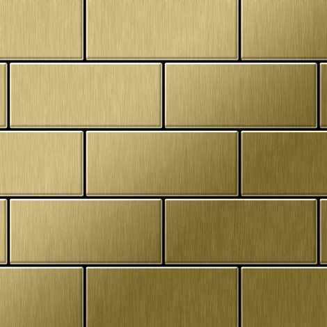 Mosaic tile massiv metal Titanium Gold brushed gold 1.6mm thick ALLOY Subway-Ti-GB