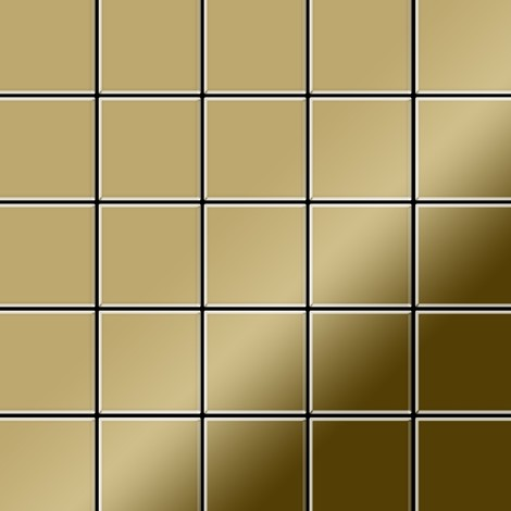 "main image of ""Mosaic tile massiv metal Titanium Gold mirror gold 1.6mm thick ALLOY Century-Ti-GM"""