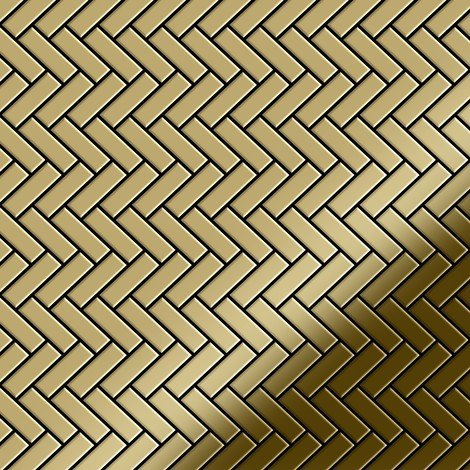 "main image of ""Mosaic tile massiv metal Titanium Gold mirror gold 1.6mm thick ALLOY Herringbone-Ti-GM"""