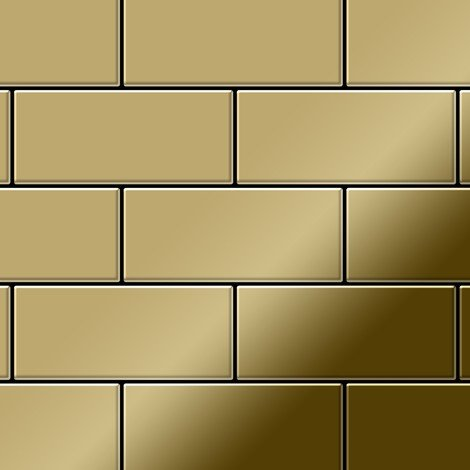Mosaic tile massiv metal Titanium Gold mirror gold 1.6mm thick ALLOY Subway-Ti-GM