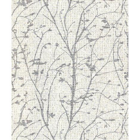 Mosaic Tile Wallpaper Vinyl Textured White Silver Metallic Glitter Shimmer Tree