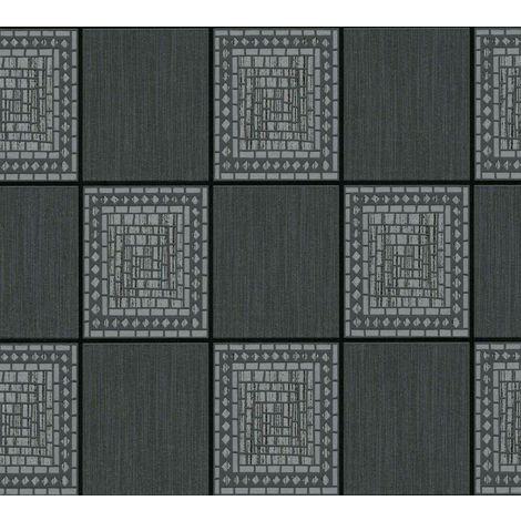 Mosaic Tiles Wallpaper Black Grey Silver Metallic Glitter Shimmer A.S Creation