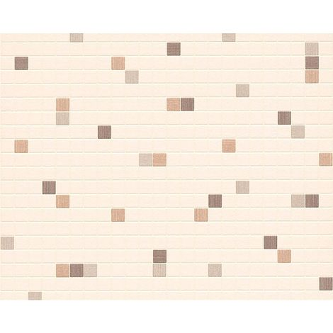 Mosaic Tiles Wallpaper Kitchen Bathroom Expanded Vinyl Brown Beige Off White
