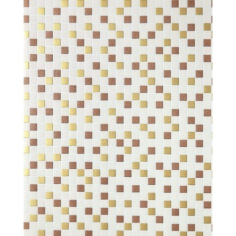 Mosaic tiles wallpaper kitchen wallcovering EDEM 1022-13 tile stone decor embossed texture beige gold copper silver