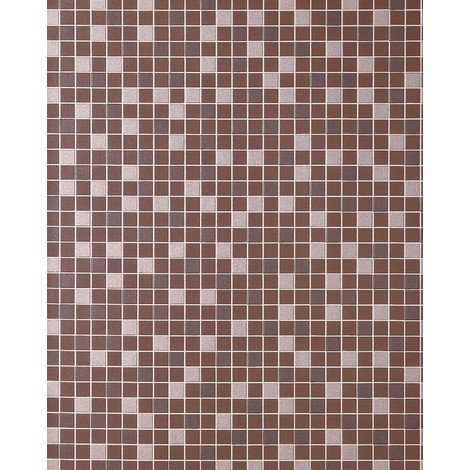 Mosaic tiles wallpaper kitchen wallcovering EDEM 1022-14 tile stone decor embossed texture brown chocolate brown silver