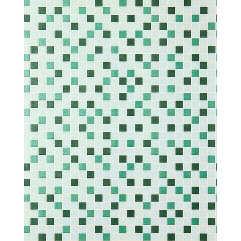 Mosaic tiles wallpaper kitchen wallcovering EDEM 1022-15 tile stone decor embossed texture mint green turquoise emerald silver
