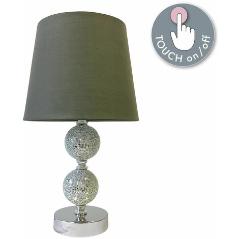 """main image of """"Chrome Touch Table Lamp Bedside Light Modern Mosaic Design Fabric Shade"""""""
