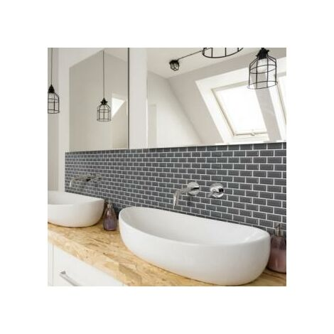 Mosaic Warehouse Mini Metro Grey Self-Adhesive Mosaic Tile Sheet 300mm x 300mm