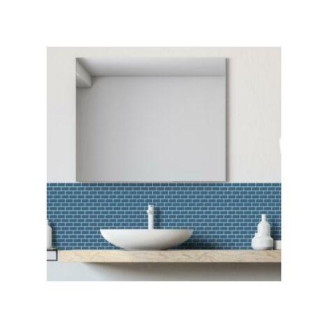 Mosaic Warehouse Mini Metro Petrol Blue Self-Adhesive Mosaic Tile Sheet mm x 300mm