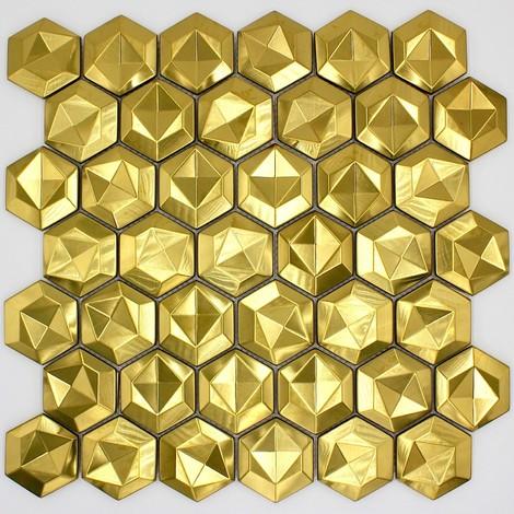 mosaico de acero metal azulejo para pared de cocina y baño Kami Gold
