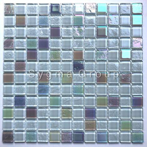 mosaico di piastrelle di vetro bianco per il bagno o la cucina Habay Blanc