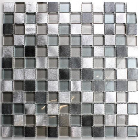 mosaico para baño y ducha de vidrio y aluminio HEHO